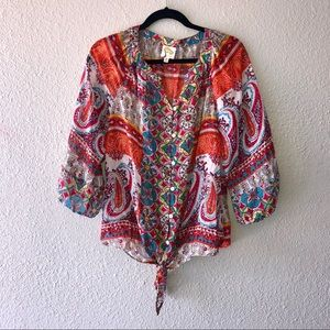 Anthropologie Fig and Flower Peasant Top